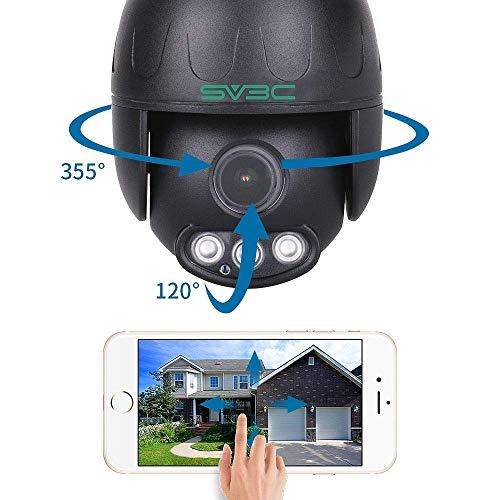 SV3C Überwachungskamera Aussen WLAN, 1080P PTZ WiFi Dome IP Kamera Outdoor 5X Optischer Zoom mit Zwei-Wege-Audio, 50m IR-Nachtsicht, Wasserdicht, Bewegungserkennung, Unterstützt bis zu 128 GB SD-Karte
