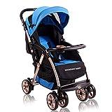 MuMa Neonati E Bambini Piccoli Carrello Paesaggio Alto Leggero può Stendersi Piegare Sospensione Auto BB Bambino Auto per Bambini - Blu