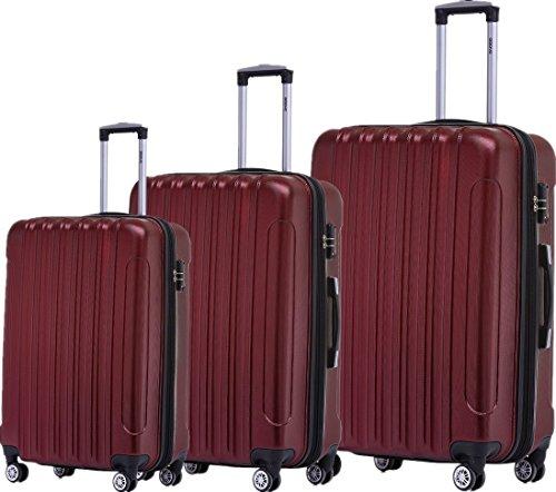 BEIBYE Zwillingsrollen 2050 Hartschale Trolley Koffer Reisekoffer in M-L-XL-Set in 12 Farben (Weinrot, Kofferset+TSA Schloß)