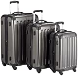 HAUPTSTADTKOFFER - Alex - Set of 3 Hard-side Luggages Glossy Suitcase Hardside Spinner Trolley Expandable (S, M & L) Graphite