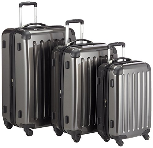 HAUPTSTADTKOFFER – Alex – Set of 3 Hard-side Luggages Glossy Suitcase Hardside Spinner Trolley Expandable (S, M & L) Graphite