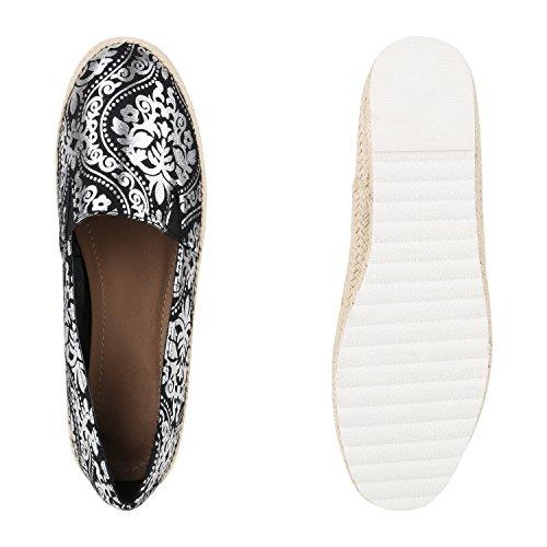 Damen Espadrilles | Metallic Slipper |Bast Profilsohle Flats | Freizeit Schuhe | Glitzer Prints Spitze Schwarz Silber