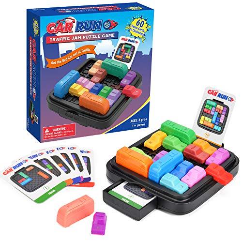 Elover Logik Spiele für Kinder Traffic Jam Puzzle-Spiele STEM Spielzeug für Jungen und Mädchen mit 60 Herausforderungskarten & Aufbewahrungstasche