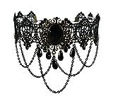 Gotik Spitze Halskette charmant vintage Schmuck schwarz Acryl Stein tattoo Choker