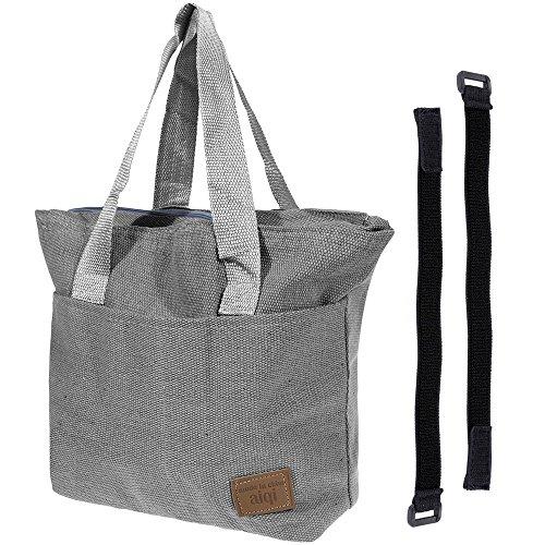 Anpro Sac Repas Sac à Déjeuner Isotherme New VersionPliable Lunch Bag Organiseur de Voyage avec Deux Ruban Elastique en Coton-Gris