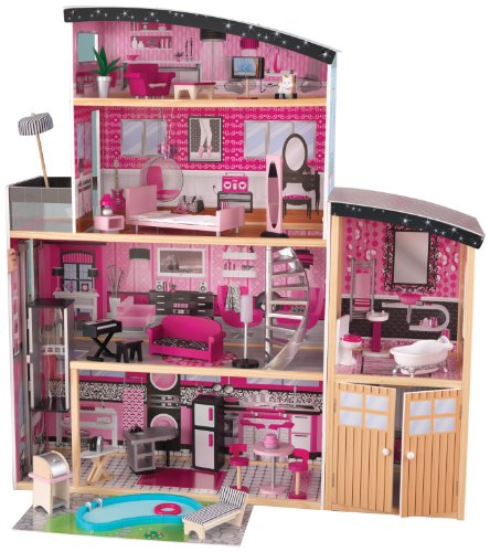 KidKraft 65826 Casa Legno Sparkle Mansion per Bambole di 30 cm con 30 Accessori Inclusi e 4 Livelli...