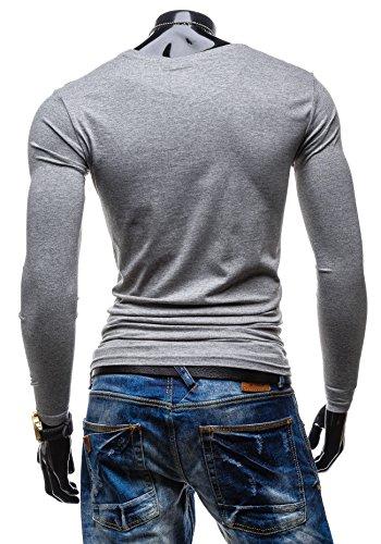 GLO STORY T-shirt da uomo a maniche lunghe statuetta sottolineata dalla nanahito! 6163 Grigio
