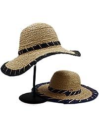 GR Moda Verano Mujeres Naturales Sombrero de Paja de Rafia Sun Sombrero de  Paja Elegante Señora Fedora Cap Sunbonnet Playa Sombreros… d1cd11a5924