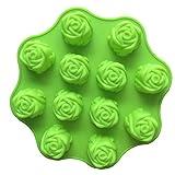 Ndier Rose Form Silikonform für Kuchen, Backen, Mini Kuchen, Cupcake, EIS Schokolade, 12 Hohlräume