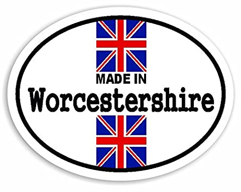 Made In Worcestershire - Union Jack British Flag Auto Aufkleber / Sticker For Car Bike Van Camper Decal Bumper Sign