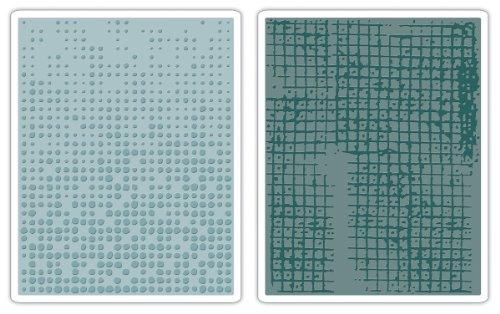 Sizzix Texture Fades Prägefolder 2Stück–Matrix & Gridlock Set by Tim Holtz (Prägefolder-set)