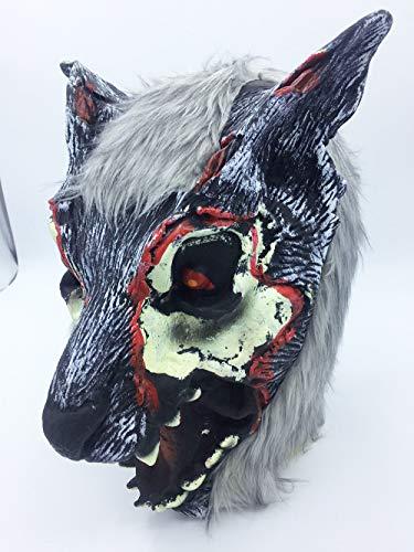 QETU Halloween Tier Maske, Kostüm Party Silikon Wolf Kopf Maske (Black Wolf),A
