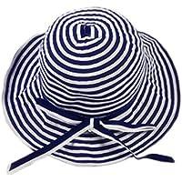 LBY Sombrero de Pescador de Sombrero de Paja de Color sólido Sombrero de protección Solar Plegable Sunhat Sombreros de Sol (Color : Marina, Tamaño : 54-56cm)