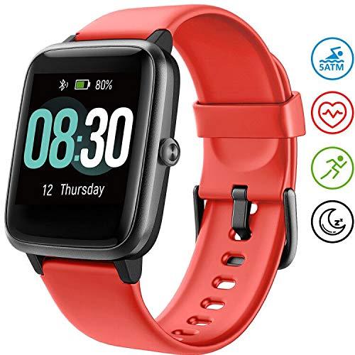 UMIDIGI Smartwatch Fitness Tracker Uwatch3, Armbanduhr Sportuhr Smart Watch für Damen Herren Kinder mit Herzfrequenz Schlaftracker 5 ATM Wasserdicht Kompatibel mit Android und IOS, Rot