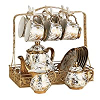 Ceramics Coffee Cup Saucer Set with 10 Pieces,Home Porcelain Tea Set with Cup Holder And Teapot,European Luxury Style Tea Cup And Saucer Set,a