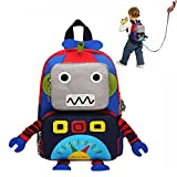 Backpack for Boys, DMbaby Robot Book Bag Little Kids Cute Cartoon Insulated Durable Primary Student Blue DK11