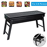 Holahoney Portable BBQ Charcoal Grill Foldable BBQ Tool Kits,Charcoal Barbecue Grill Smoker Grill for Outdoor Cooking Camping Hiking Picnics Kebab - Medium Size
