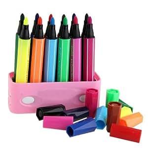 Pinceau Crayon Aquarelle 12 Couleurs Lavable Peinture Dessin Art Enfant + Boîte