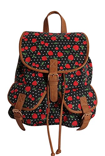 Canvas Rucksack, Backpack,Leinwand Rucksack, Damen/Mädchenrucksack, Freizeitrucksack, einzigartiges Design, Top Qualität, (Erdbeer-Kirsche) (Erdbeer-Kirsche) -