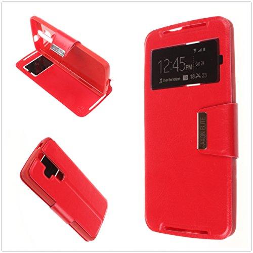 MISEMIYA - Schutzhülle Cover für ZTE Axon Elite - Hüllen, Cover View Unterstützung, Rot