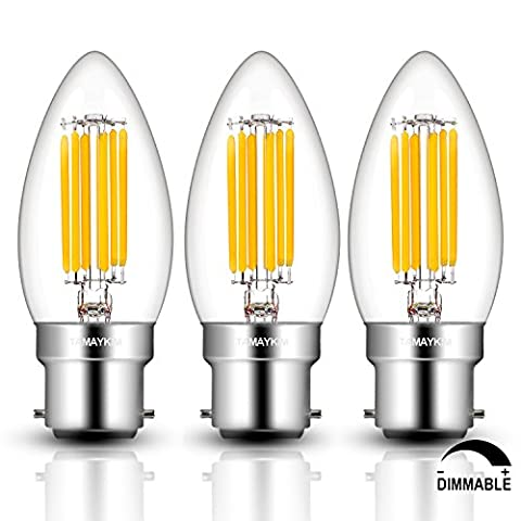 TAMAYKIM 6W Dimmable LED Filament Candle Light Bulb, 2700K Warm White 600LM, B22 Bayonet Cap Chandelier Lamp, C35 Torpedo Shape Bullet Top, 60W Incandescent Replacement, 3
