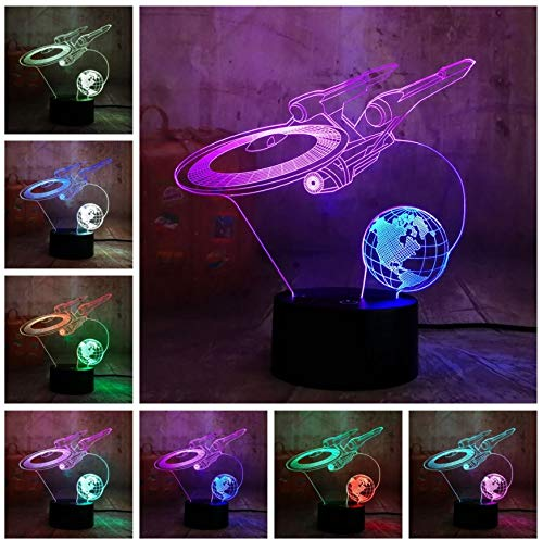Lampe Led Nachtlicht Neue Nachtlicht Raumschiff Mixed Dual Color Nachtlicht 3D Led Nachtlicht Star Wars Tischlampe Weihnachtsgeschenk Raum Wohnkultur Kinder Geschenk ()