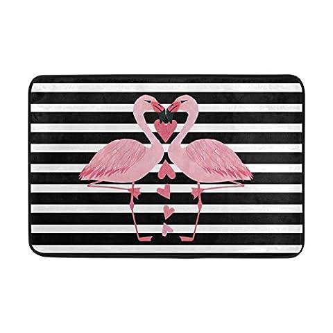 jstel Flamingo schwarz und weiß Bars-Fußmatte waschbar Garten Büro Fußmatte, Küche ESS-Living Badezimmer Pet Eintrag Teppiche mit Rutschfeste Unterseite 59,9x 39,9cm