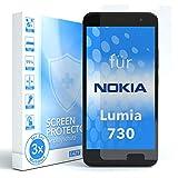 EAZY CASE 3X Bildschirmschutzfolie für Nokia Lumia 730 Dual SIM, nur 0,05 mm dick I Bildschirmschutz, Schutzfolie, Bildschirmfolie, Transparent/Kristallklar