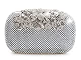 Unique Clasp Silver Diamante Crystal Diamond Evening bag Clutch Purse Party Bridal Prom