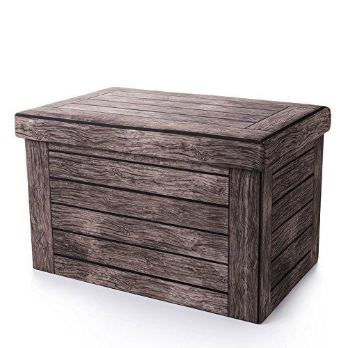 Woltu® sh22dc pouf contenitore sgabello sedia a cubo pieghevole poggiapiedi cassapanca con coperchio rimovibile ecopelle faggio scuro