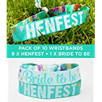 HENFEST teal/Green festival style Hen Party Wristbands (Pack of 10) hen do accessories, hen party favours