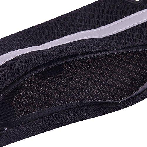 iPhone Case Cover Multifonctionnel Sports de plein air Mesh respirant sac de taille de tissu avec nuit Bande réfléchissante et écouteur Trou pour iPhone, Samsung, Sony et autres téléphones (pour moins Black