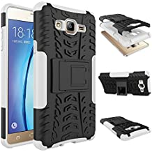 Chevron Hybrid Military Grade Armor Kick Stand Back Cover Case for Samsung Galaxy On5 (White)