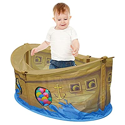 Charles Bentley Children's Pirate Boat Ball Pit Play Tent With 50 Multi Coloured Balls Indoor Play