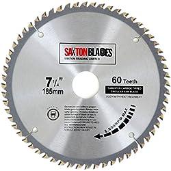 TCT18560T Saxton TCT Lame de scie circulaire à bois 185 x 30 mm x alésage x 60 dents pour scies Bosch, Makita, Dewalt 190 mm.