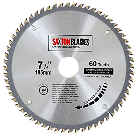 TCT18560T Saxton TCT Lame de scie circulaire à bois 185x 30mm x alésage x 60dents pour Bosch Makita Dewalt
