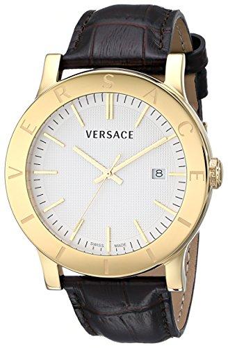 Versace VQB030000del hombre bañada en oro de Acron reloj con banda de cuero marrón