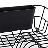 simplywire - Black Wire Dish Drainer - Plate Drying Rack with Cutlery Holder Basket - Anti-Rust
