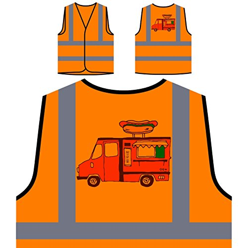 Hot Dog Truck Lecker Personalisierte High Visibility Orange Sicherheitsjacke Weste r404vo -