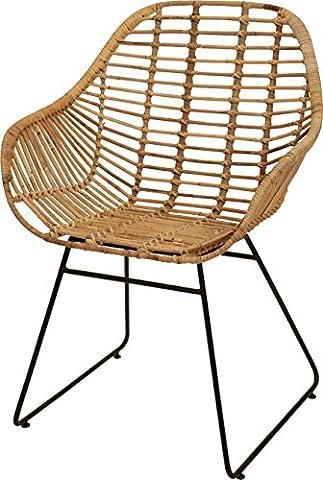 Korb-Sessel im Retro-Stil aus echtem Rattan mit Eisen-Fußgestell