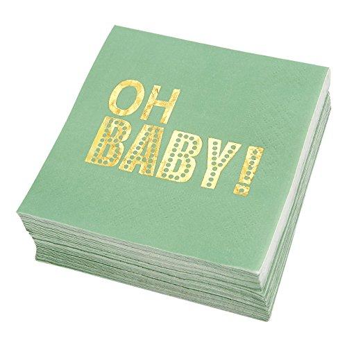 Amtsheftung Getränke Servietten–Oh Baby. in Gold Folie bedruckt–Einweg Papier Party Servietten–Perfekt für Baby Duschen oder Gender Reveal Parteien, 12,7x 12,7cm gefaltet, mint grün