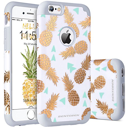 BENTOBEN Coque iPhone 6S Plus Ananas, Etui iPhone 6 Plus, Etui Housse Protection Double Couche Antichoc PC Dur Silicone Souple avec Motif Ananas Pineapple pour Apple iPhone 6 Plus/6S Plus, Gris/Or
