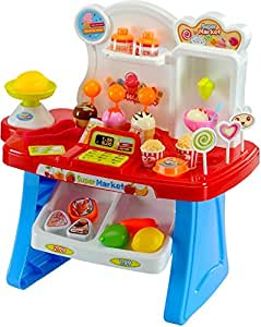 smartcraft Kid's Luxury Supermarket Shop with Candy Sweet Shopping Cart, Ice Cream Role Playset Toy for Kids(Blue)