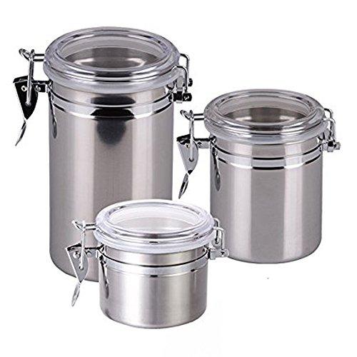 fuluzor – Pots de cuisine herméticos- acier inoxydable – Set de 3 – Argent