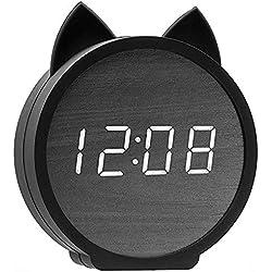 RROWER Chat réveil numérique, LED Affichage numérique réveil paramètres en Bois électronique LED Affichage Snooze Temps température USB de Charge avec Commande vocale pour Chambre à Coucher