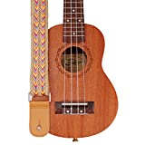 Musique première Design original fabriqué à la main en jute tressé et cuir véritable style bohémien Ukulélé Sangle ukulélé Sangle d\'épaule