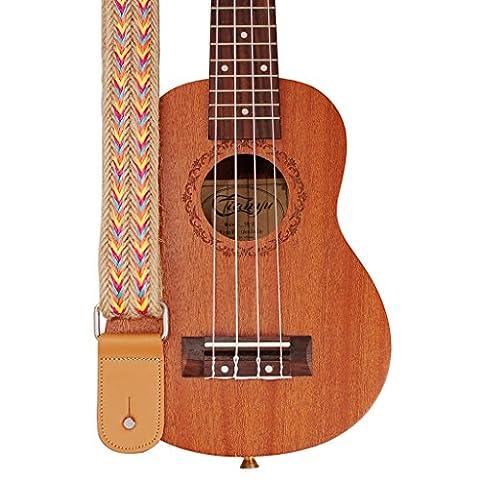 Musique première Design original fabriqué à la main en jute tressé et cuir véritable style bohémien Ukulélé Sangle ukulélé Sangle