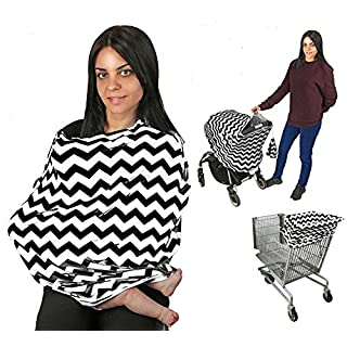 EZ Creations Breastfeeding/Nursing Cover, Multi-use as Apron, Shawl, Infant Blanket, Baby Poncho. Breastfeed in Public Comfortably and Discreetly. with Storage Bag. (Black Chevron)