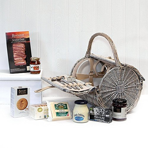 Organic Gourmet Food Selection Hamper Presented in Luxury 2 Person Harrington Style Fitted Picnic Basket with Accessories - Gift Ideas for Christmas presents, Birthday, Wedding, Anniversary and Corporate