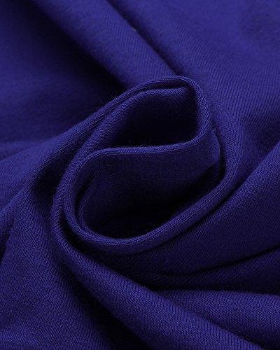 StyleDome Damen Rückenfrei Schulterfrei 3/4 Ärmel Slim Tops T-Shirts Blau